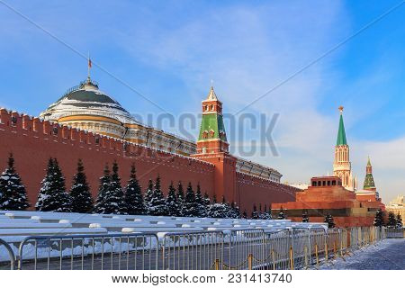 Towers Of Moscow Kremlin On A Blue Sky Background