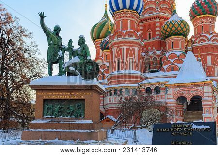 Monument To Minin And Pozharsky Against St. Basil's Cathedral. Moscow In Winter