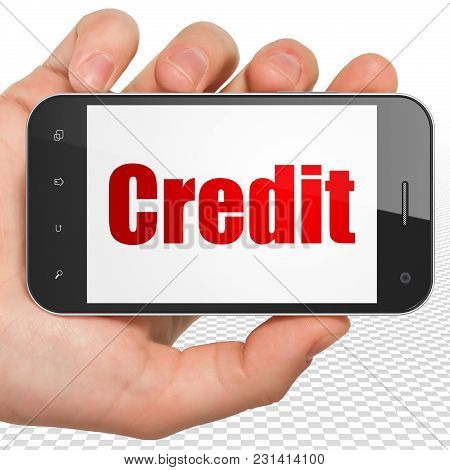 Banking Concept: Hand Holding Smartphone With Red Text Credit On Display, 3d Rendering
