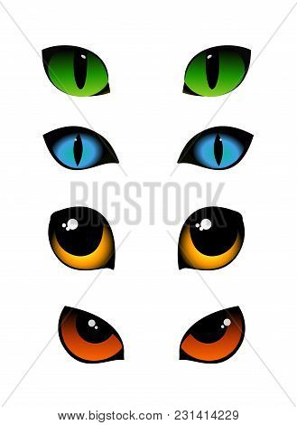 Vector Illustration Set Of Cat Emotions Eyes In Different Colors Isolated On White Background. Green