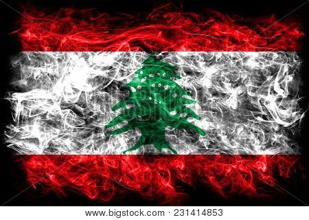 Lebanon Smoke Flag On A Black Background