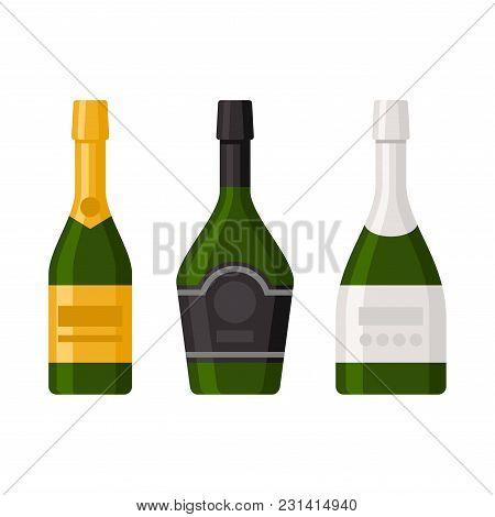 Champagne Bottles Set On White Background. Vector Illustration