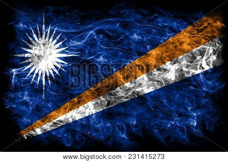 Marshall Islands Smoke Flag On A Black Background