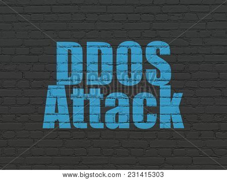 Protection Concept: Painted Blue Text Ddos Attack On Black Brick Wall Background