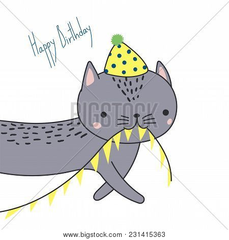 Hand Drawn Happy Birthday Greeting Card With Cute Funny Cartoon Cat With A In A Party Hat, Carrying
