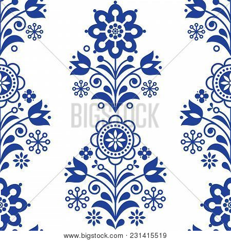 Scandinavian seamless folk art vector pattern, floral navy blue repetitive design, Nordic ornament with flowers poster