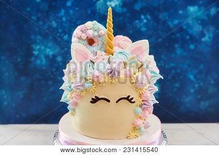Big Colorful Cake In Shape Of Unicorn Face