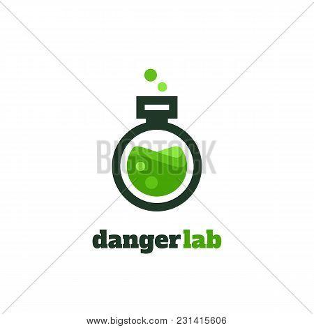 Flat Vector Illustration Of Test Glass. Slab Lines Logo For Laboratory.