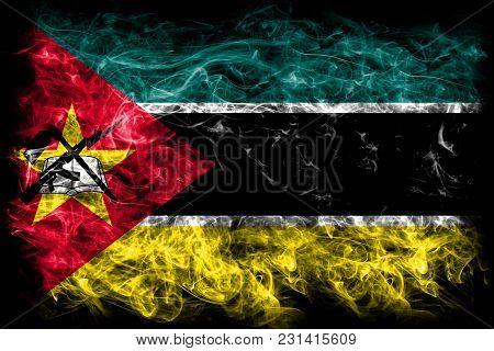 Mozambique Smoke Flag On A Black Background