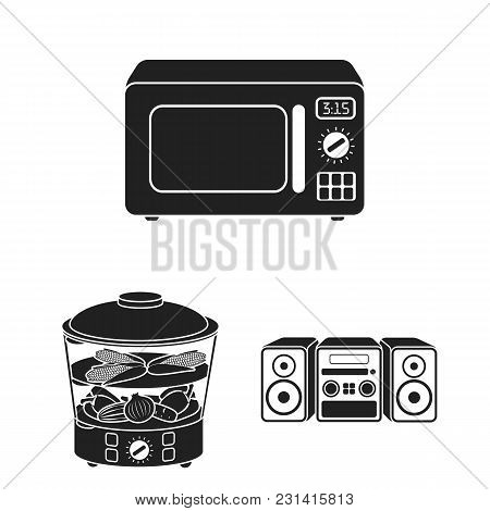 Types Of Household Appliances Black Icons In Set Collection For Design.kitchen Equipment Vector Symb