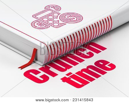 Finance Concept: Closed Book With Red Calculator Icon And Text Crunch Time On Floor, White Backgroun