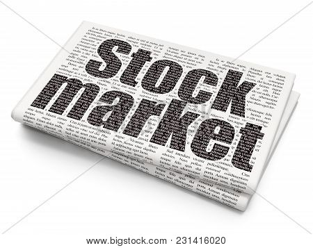 Business Concept: Pixelated Black Text Stock Market On Newspaper Background, 3d Rendering