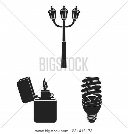 Light Source Black Icons In Set Collection For Design. Light And Equipment Vector Symbol Stock  Illu