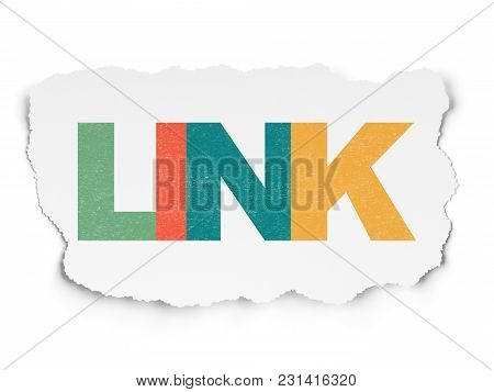 Web Design Concept: Painted Multicolor Text Link On Torn Paper Background