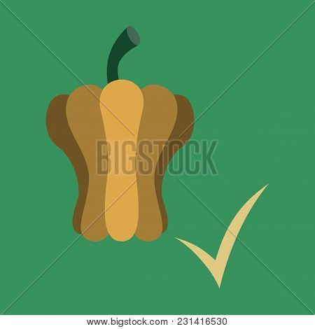 Flat Icon Of Colored And Sweet Bulgarian Bell Pepper, Paprika Isolated.