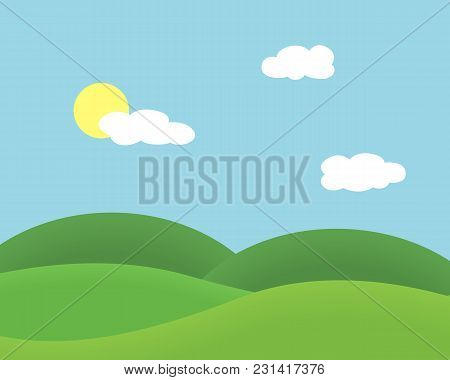 Flat Design Illustration Of Landscape With Meadow And Hill Under Blue Sky With Clouds And Sun - Vect