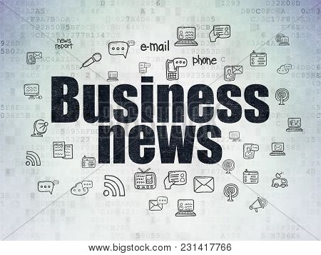 News Concept: Painted Black Text Business News On Digital Data Paper Background With  Hand Drawn New