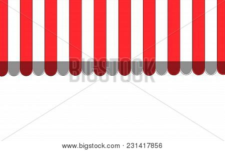 Red Striped Carnival Information Ticket Window Booth. Vector Illustration.