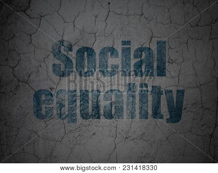Political Concept: Blue Social Equality On Grunge Textured Concrete Wall Background