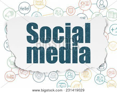 Social Media Concept: Painted Blue Text Social Media On Torn Paper Background With Scheme Of Hand Dr