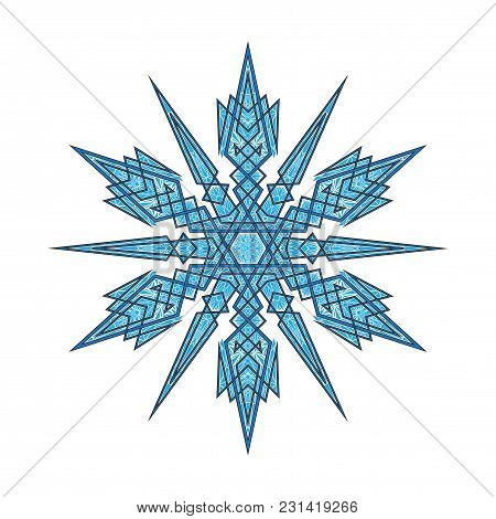 Big Crystal Snowflake In Flat Style On Transparent Background. Christmas Ornament