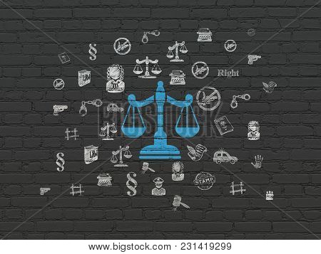 Law Concept: Painted Blue Scales Icon On Black Brick Wall Background With  Hand Drawn Law Icons