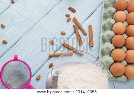 Eggs And Flour, Products For Baking Cake