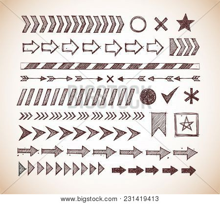 Set Of Doodle Arrow Dividers, Pointers, Danger Tape And Design Elements In Vintage Style.