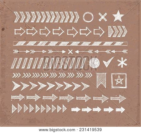 Set Of Doodle Arrow Dividers, Pointers, Danger Tape And Design Elements On Brown Parcel Paper Backgr
