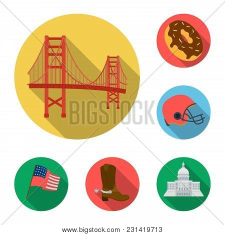 Usa Country Flat Icons In Set Collection For Design.travel And Attractions Vector Symbol Stock  Illu