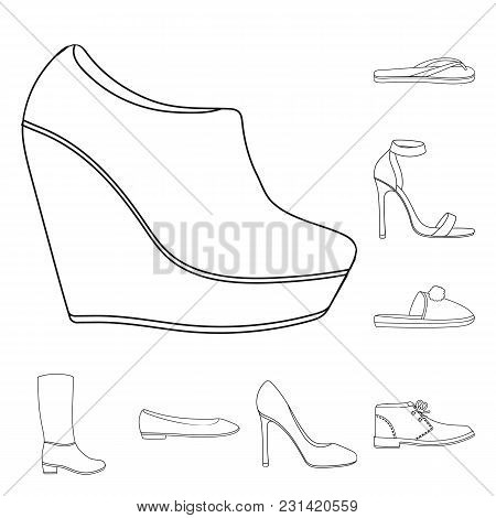 A Variety Of Shoes Outline Icons In Set Collection For Design. Boot, Sneakers Vector Symbol Stock  I
