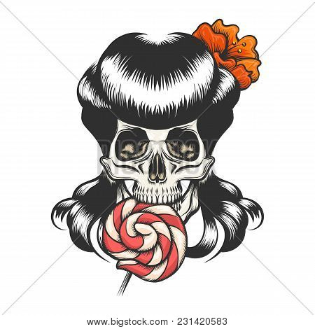 Human Skull With Retro Hairdress Eating Lollipop. Tattoo Design For Halloween. Vector Illustration.