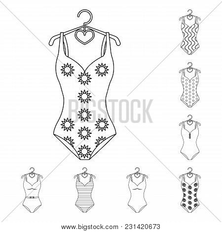 Different Types Of Swimsuits Outline Icons In Set Collection For Design. Swimming Accessories Vector