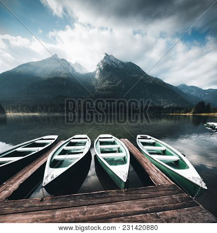 Famous lake Hintersee. Location resort Ramsau, National park Berchtesgadener Land, Bavaria, Germany Alps, Europe. Scenic image of beautiful nature landscape, amazing view. Explore the beauty of earth.