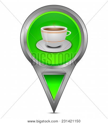 Glossy Green Map Pointer With A Cup Of Coffee - 3d Illustration