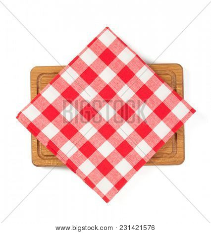 napkin at cutting board isolated on white background