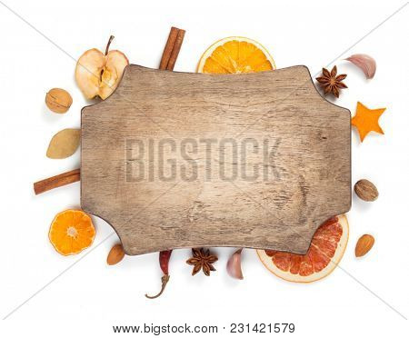 dried fruit and spices isolated on white background