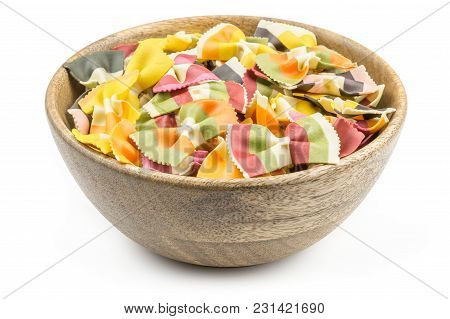 Farfalle Pasta With Vegetables In A Wood Bowl Isolated On White Background Raw Classic Traditional I