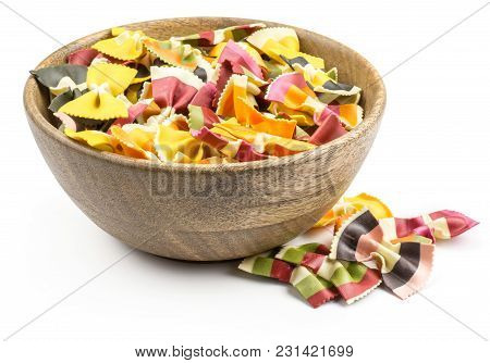 Farfalle Pasta With Vegetables In A Wooden Bowl Isolated On White Background Raw Classic Traditional