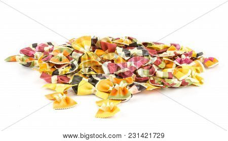 Farfalle Pasta With Vegetables Stack Isolated On White Background Raw Classic Traditional Italian