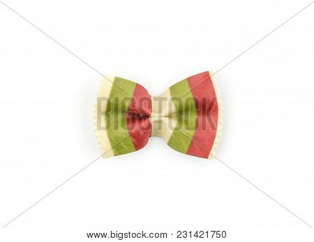 Farfalle Pasta With Green Spinach And Red Beet Isolated On White Background Top View One Raw Classic