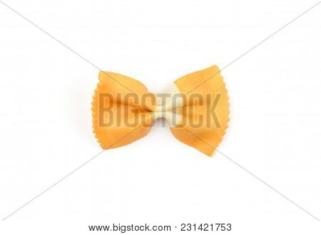 Farfalle Pasta With Orange Carrot Isolated On White Background Top View One Raw Classic Traditional