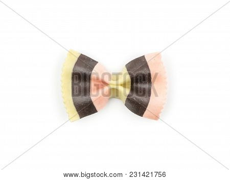 Farfalle Pasta With Black Cuttlefish Ink And Red Beet Isolated On White Background Top View One Raw