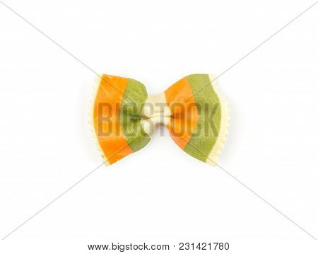 Farfalle Pasta With Green Spinach And Orange Carrot Isolated On White Background Top View One Raw Cl