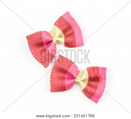Farfalle Pasta With Red Beet And Paprika Isolated On White Background Top View Two Raw Classic Tradi