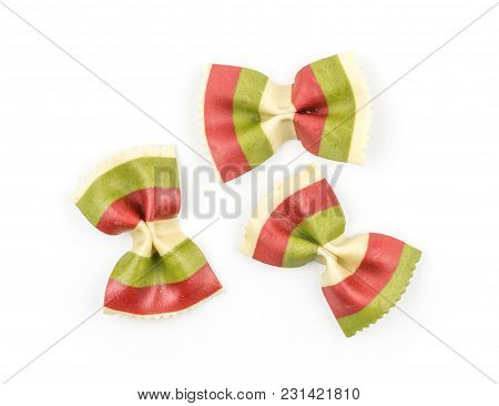 Farfalle Pasta With Green Spinach And Red Beet Isolated On White Background Top View Three Raw Class
