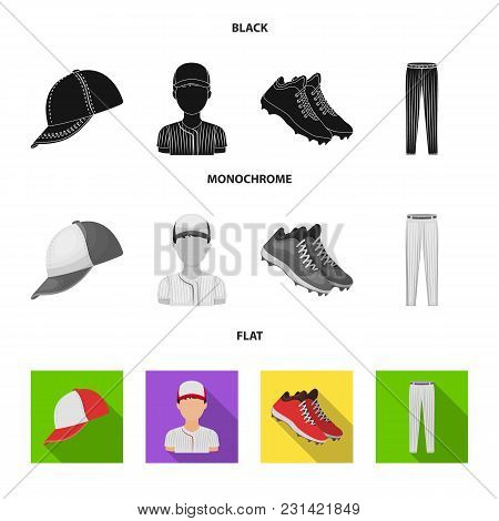 Baseball Cap, Player And Other Accessories. Baseball Set Collection Icons In Black, Flat, Monochrome