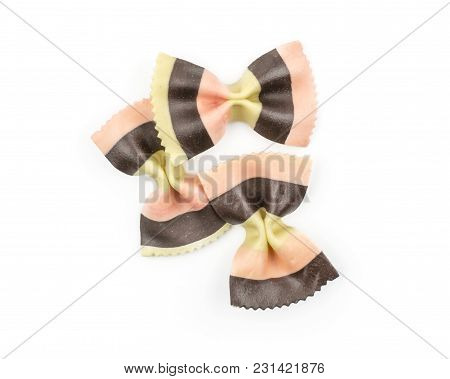 Farfalle Pasta With Black Cuttlefish Ink And Red Beet Isolated On White Background Top View Three Ra