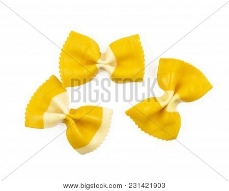 Farfalle Pasta With Curcuma Isolated On White Background Top View Three Raw Classic Traditional Ital