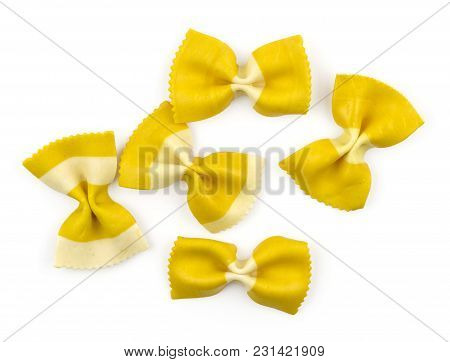 Farfalle Pasta With Curcuma Isolated On White Background Top View Set Raw Classic Traditional Italia